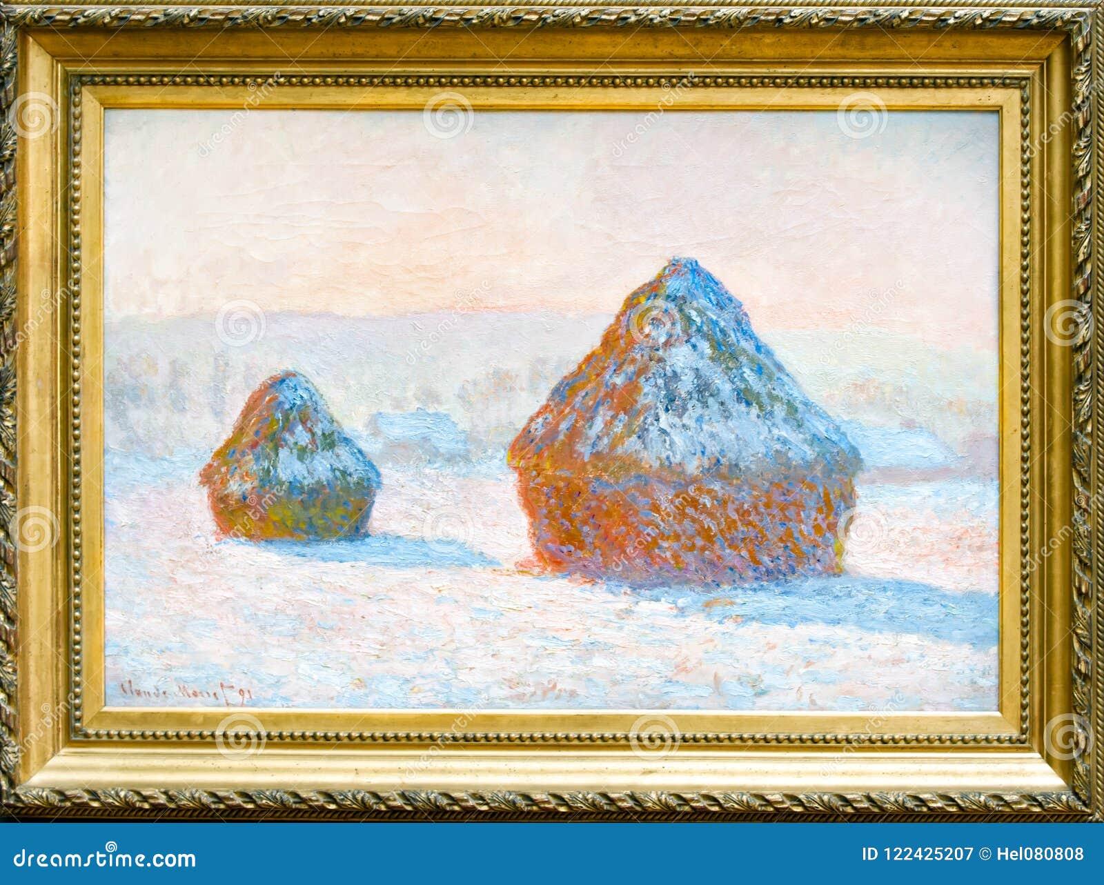Claude Monet, Wheatstacks, Efecto De La Nieve, Pintura Impresionista ...