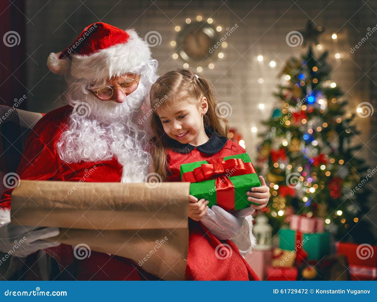 Claus dziewczyna mały Santa