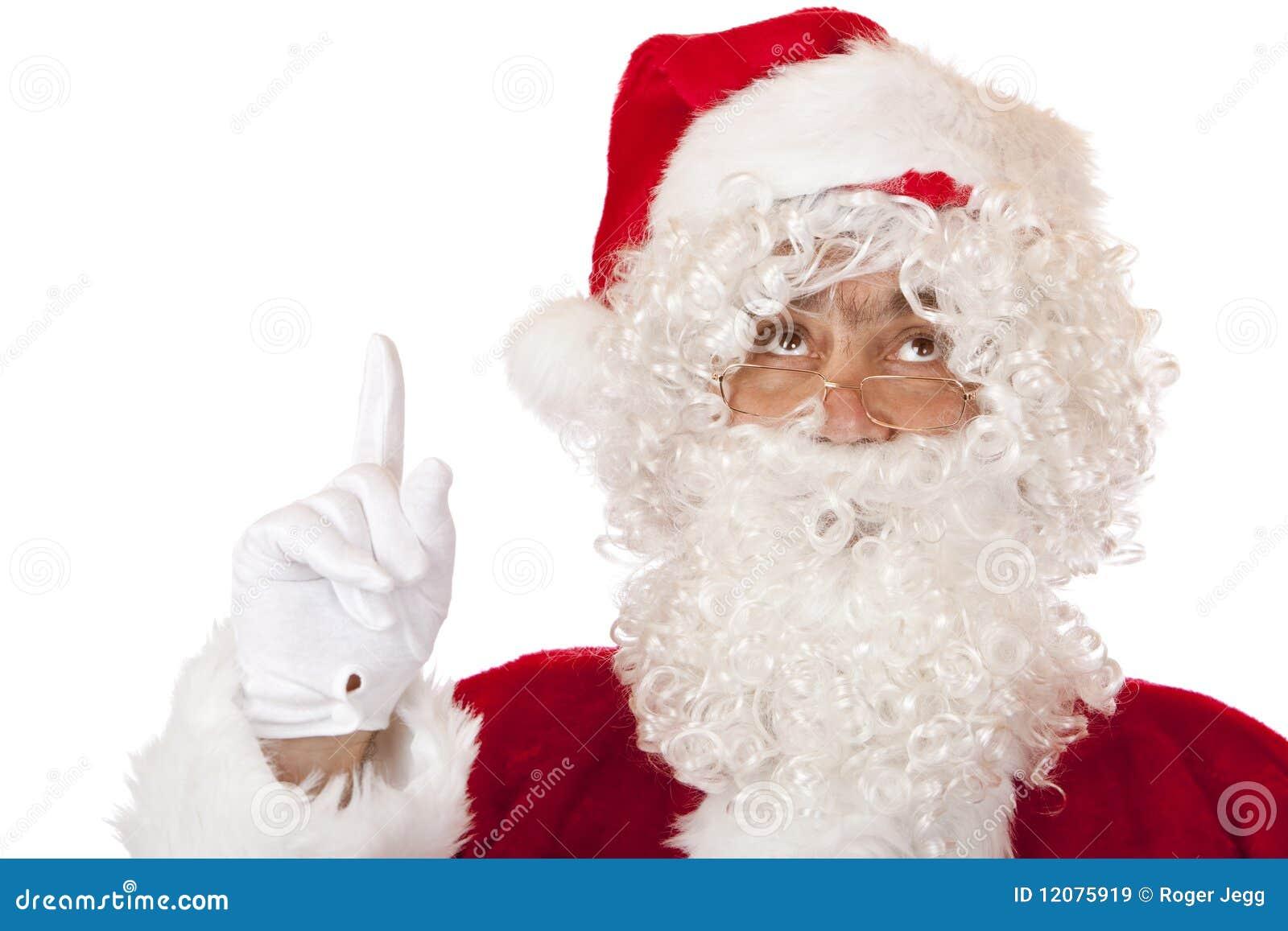 Claus finger hans pekande santa som ska tops