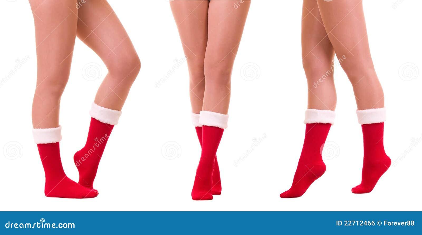 Claus iść na piechotę seksowną s skarpetę Santa