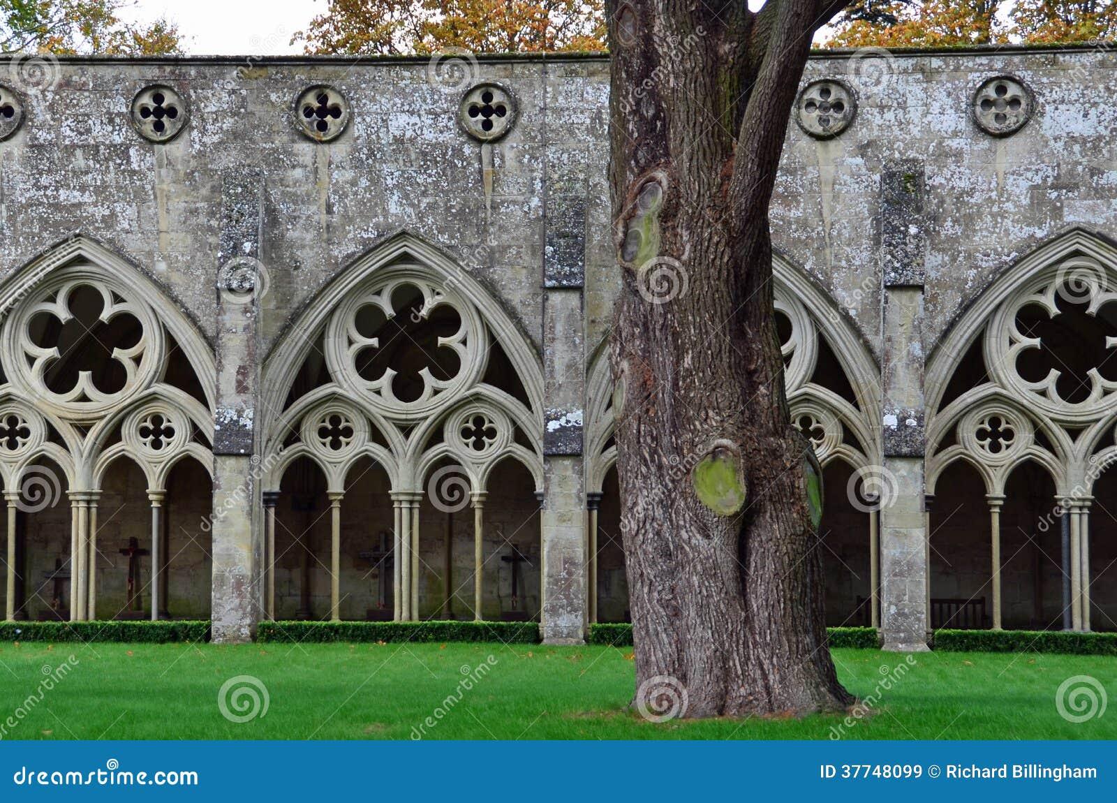 Claustros, catedral de Salisbury, Salisbury, Wiltshire, Inglaterra