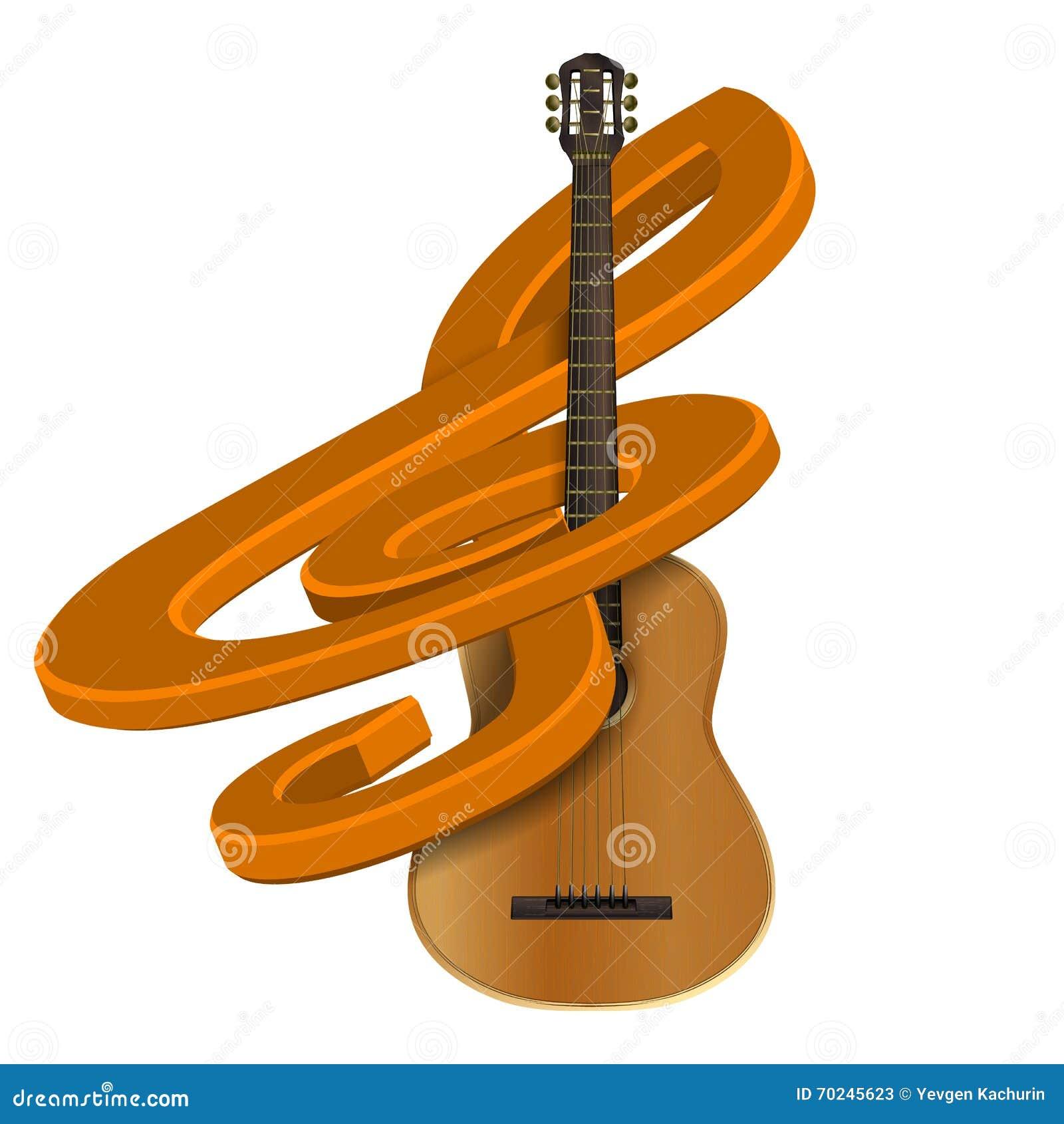 Clave De Sol Con La Guitarra Ilustración Del Vector Ilustración De