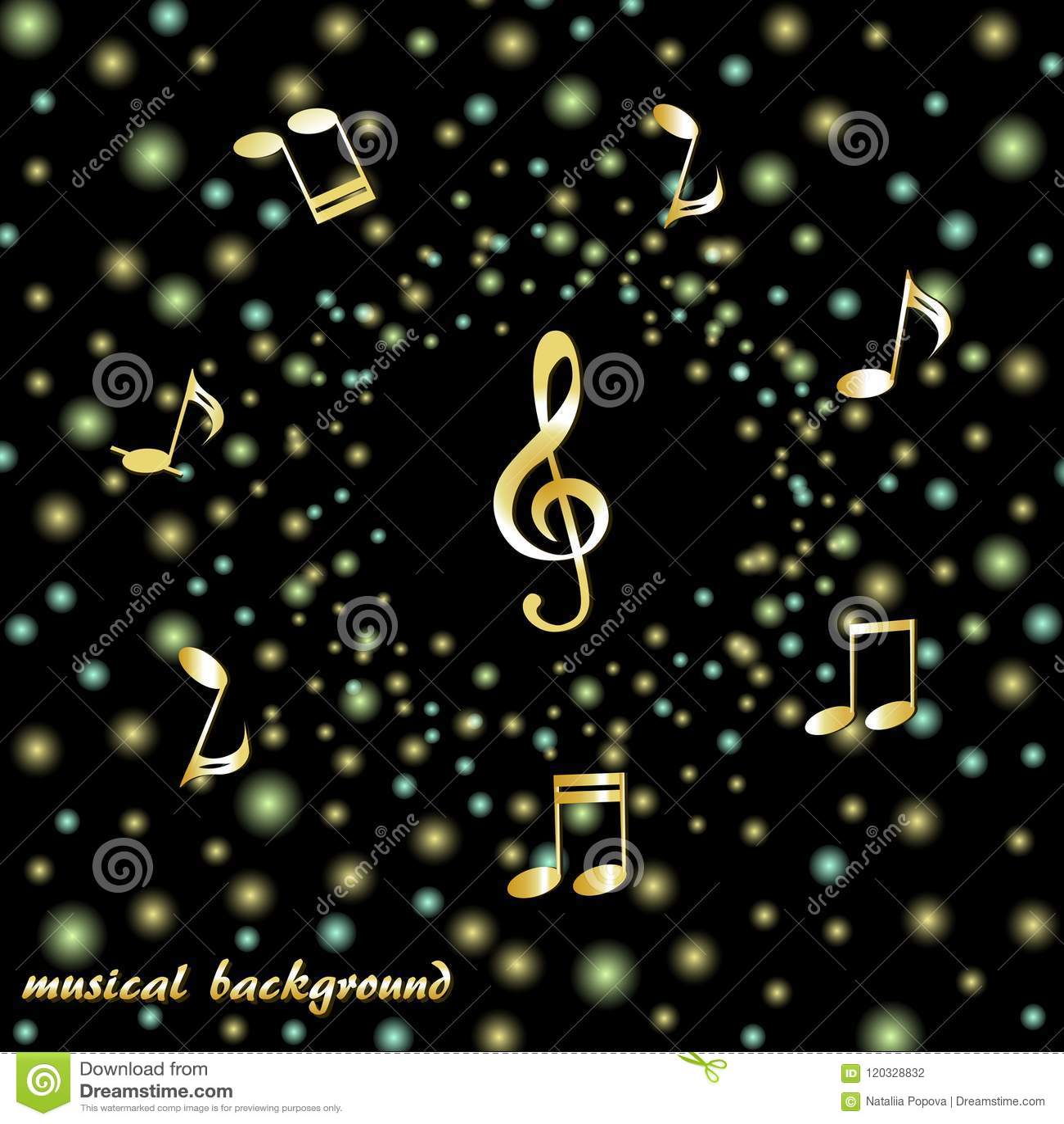 Clave de sol dourada e notas musicais em um fundo de confetes brilhantes