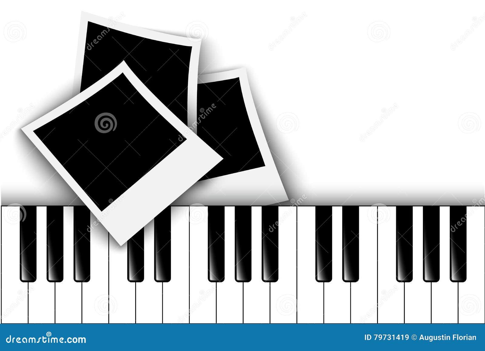 Claves del piano Marco retro de la foto