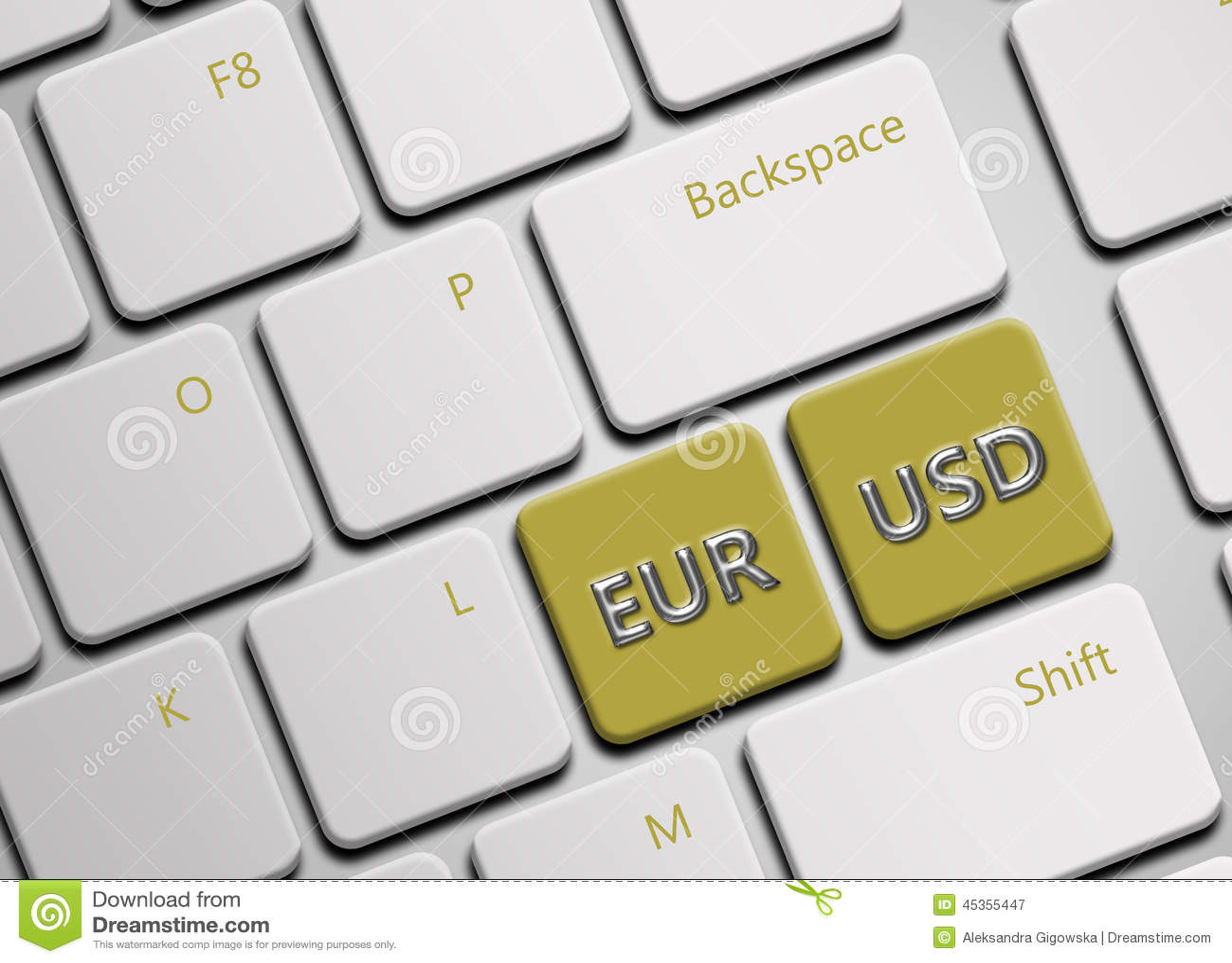 Clavier d ordinateur avec des boutons d euro et de dollar