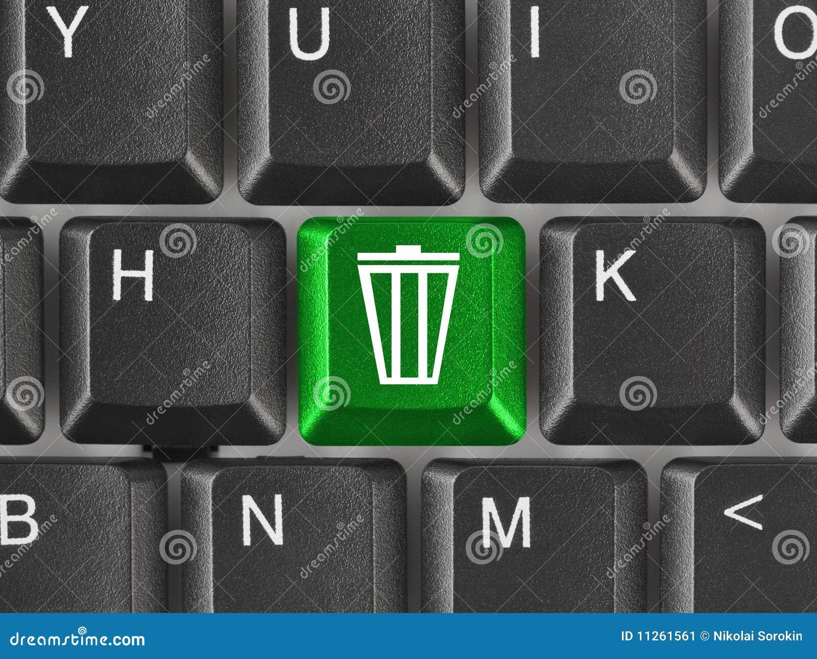 Clavier d ordinateur avec la clé d ordures