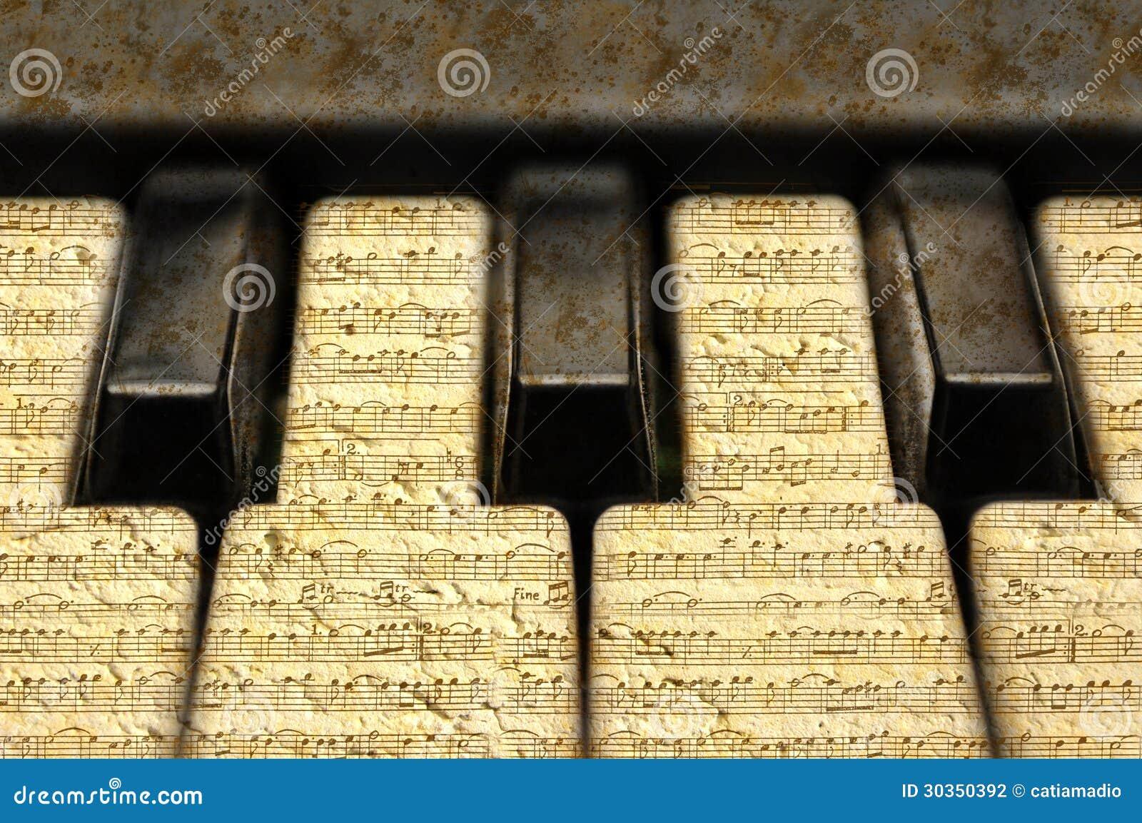 Clavier de musique avec les notes grunges