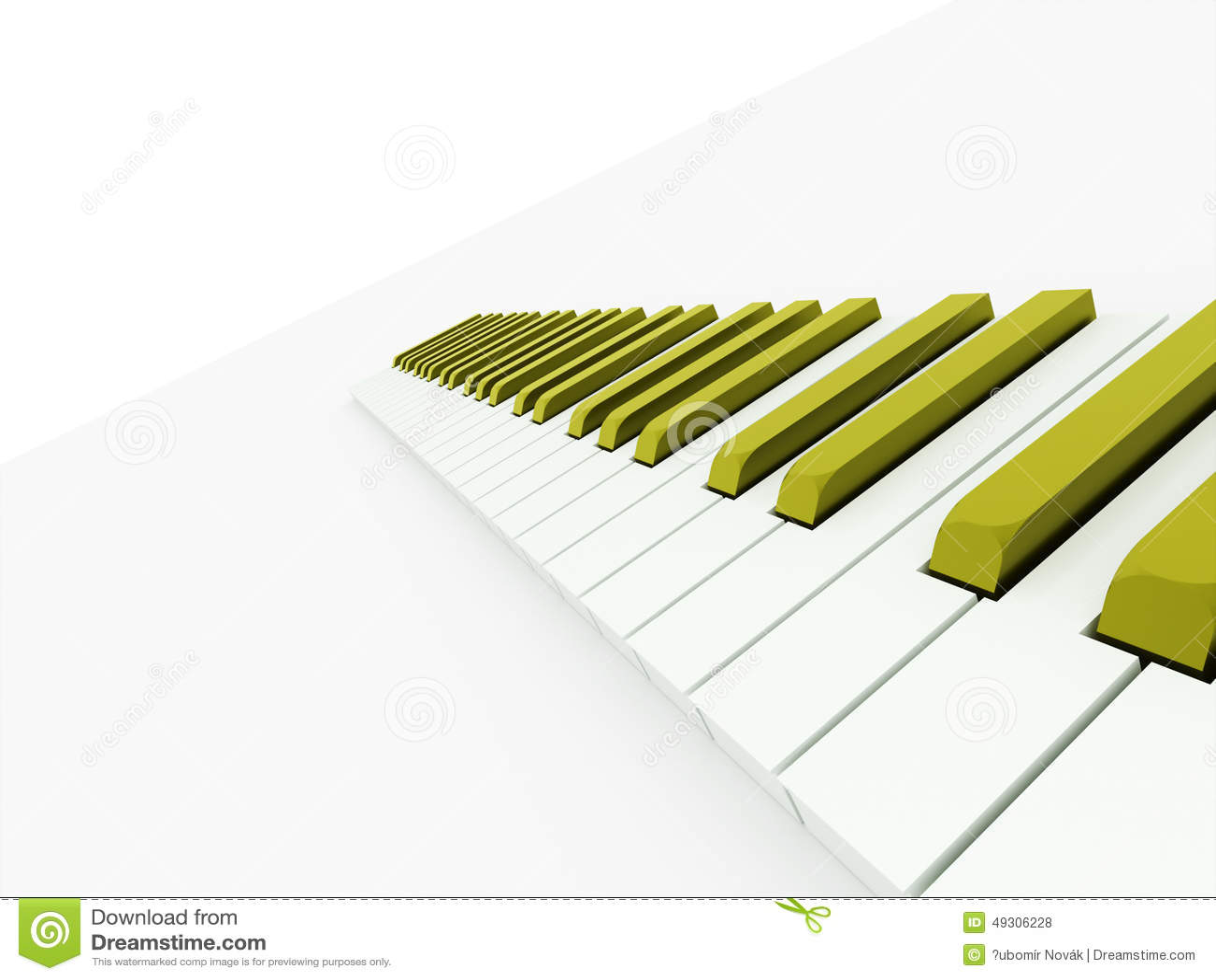 clavier de piano vert rendu illustration stock. Black Bedroom Furniture Sets. Home Design Ideas