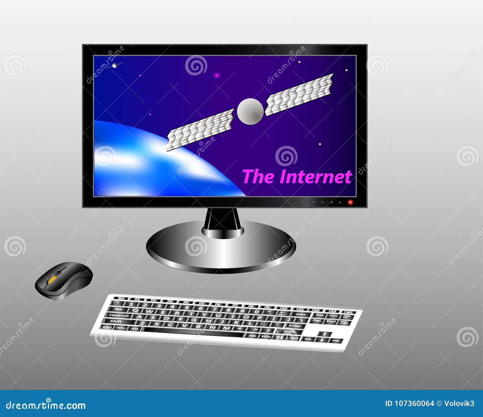 Clavier, souris et moniteur avec un ciel, une terre et un satellite de télécommunications étoilés