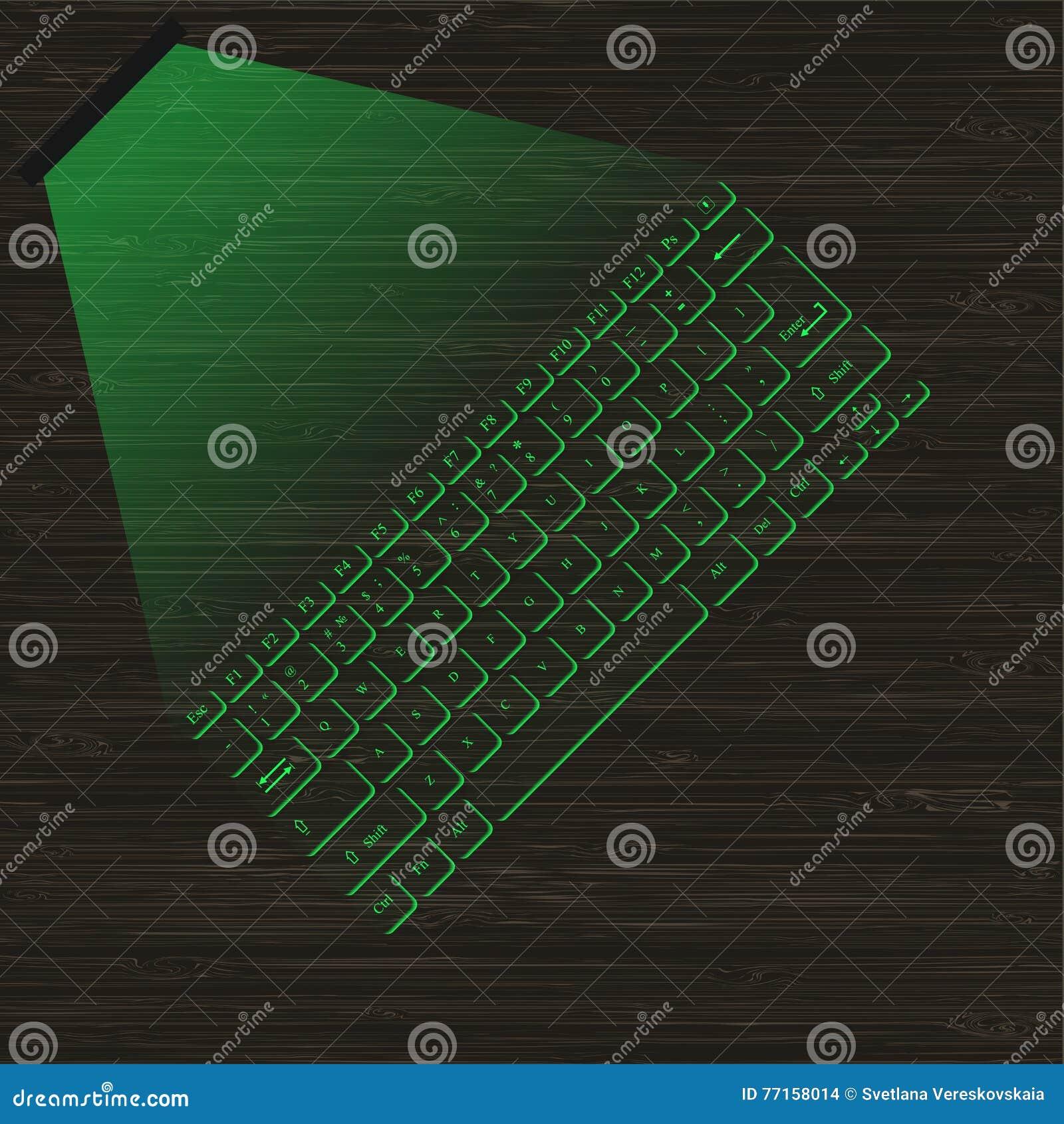 Clavier virtuel vert de laser d image avec la projection sur une surface en bois