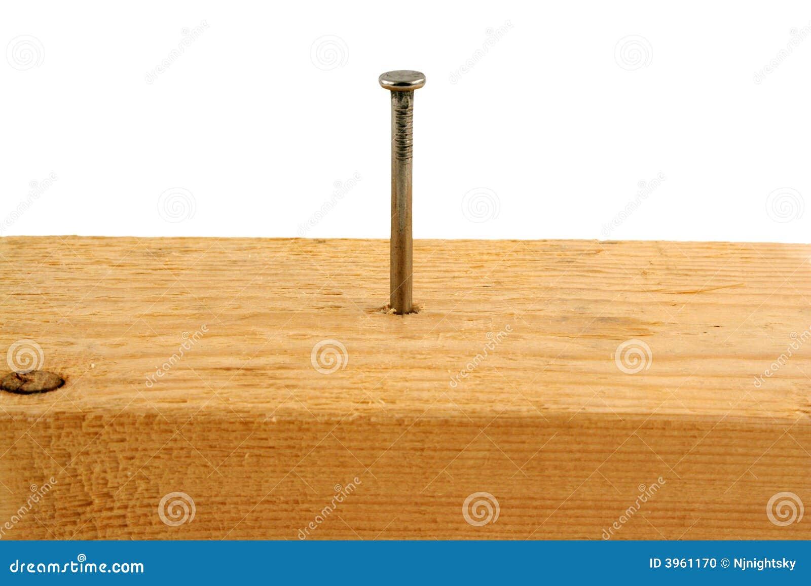 Clavo de diez peniques en un pedazo de madera foto de - Clavos para madera ...