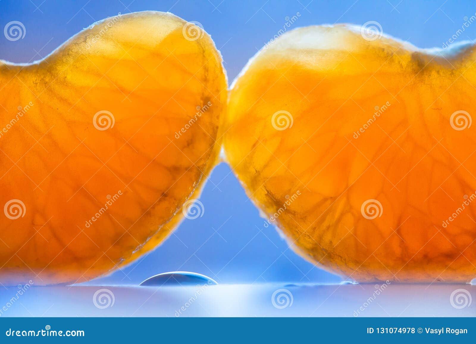 Clavos dulces maduros de la mandarina Segmento anaranjado dos en fondo azul