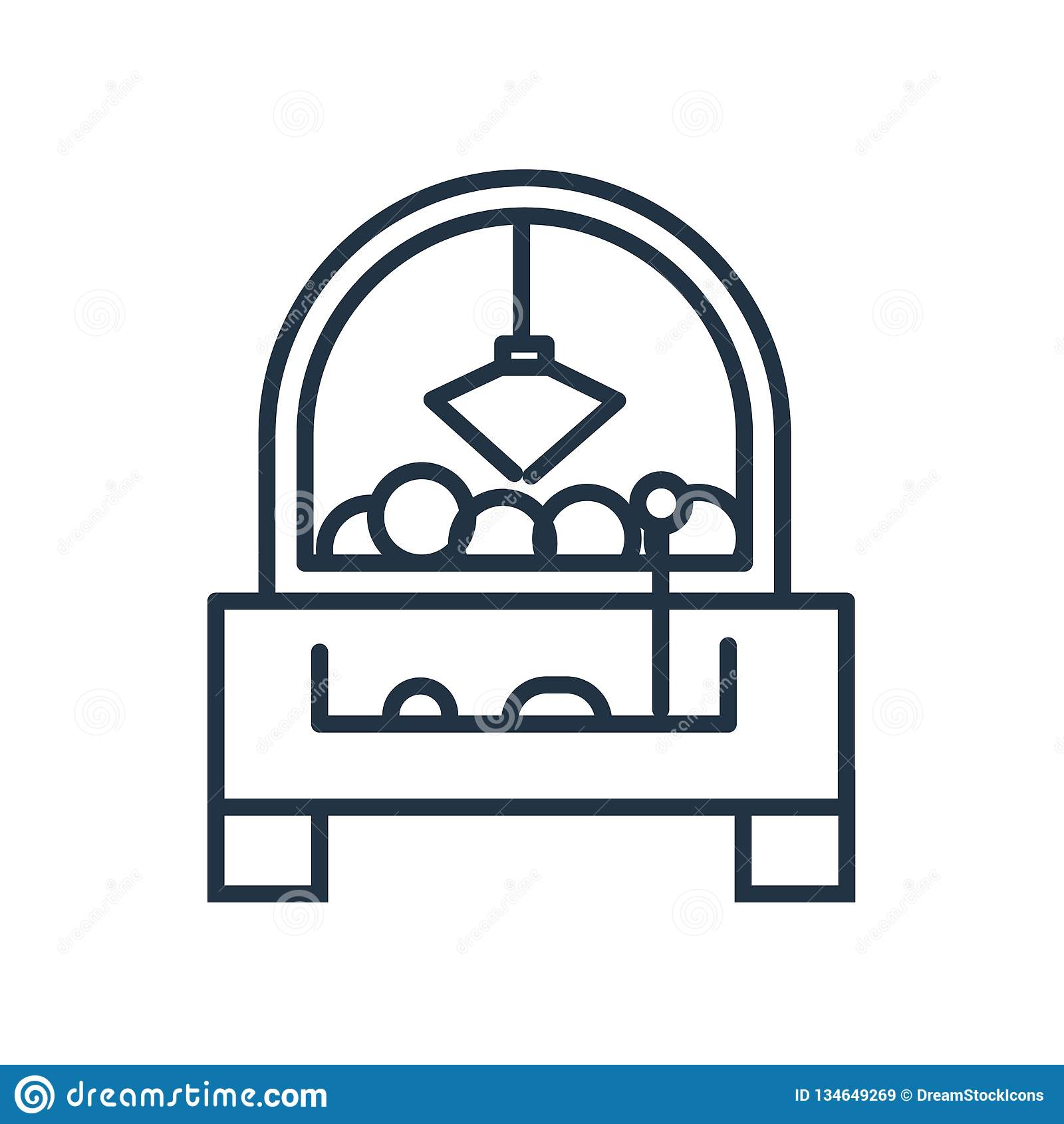 Claw machine icon vector isolated on white background, Claw machine sign