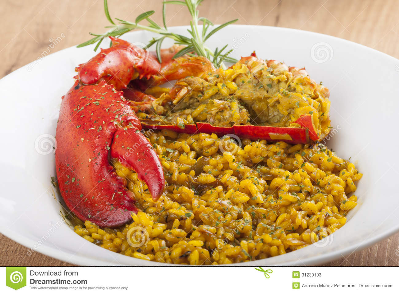 Clawed Lobster With Yellow Rice Stock Image - Image: 31230103