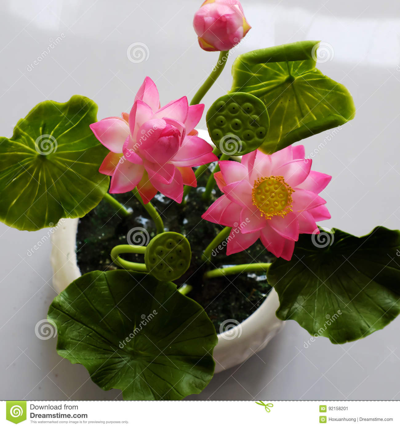 Clay Art Pink Lotus Flower Pot Stock Image Image Of Color Bloom