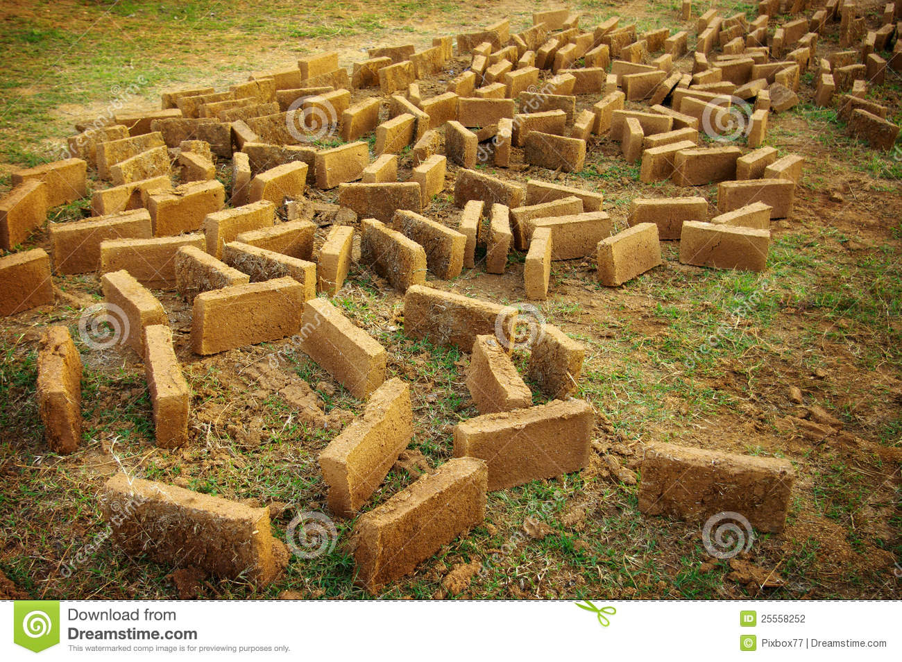 Clay Brick For Build The Clay House Stock Photography