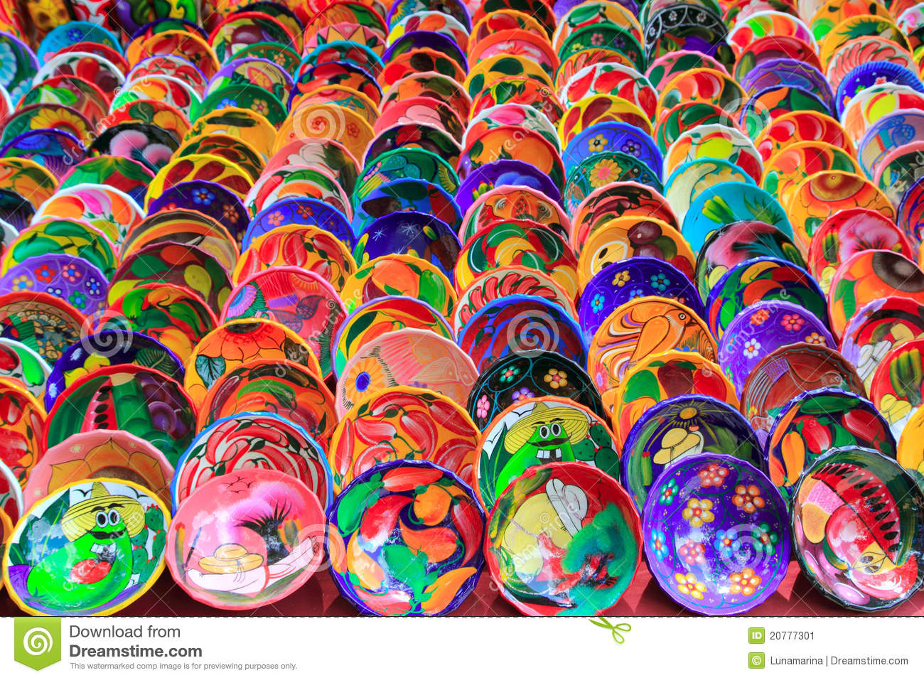 Clay ceramic plates from Mexico colorful & Clay Ceramic Plates From Mexico Colorful Stock Image - Image of ...