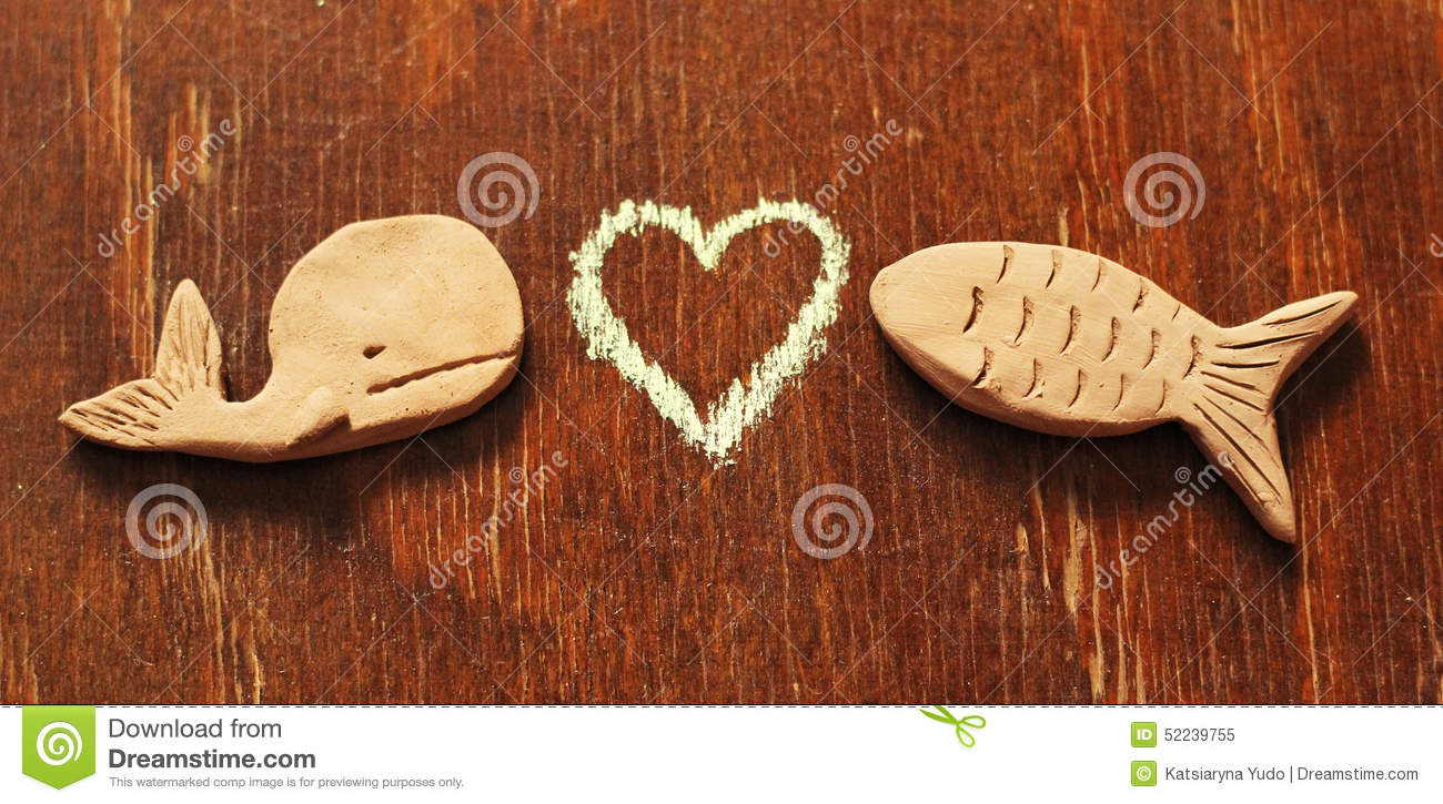Clay fishes and heart