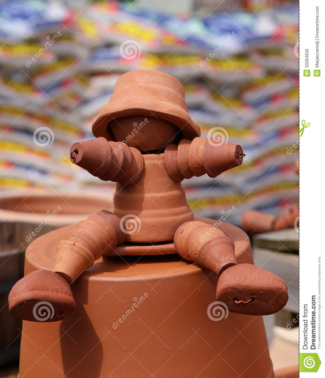 Clay Flower Pot Man Figure Royalty Free Stock Images