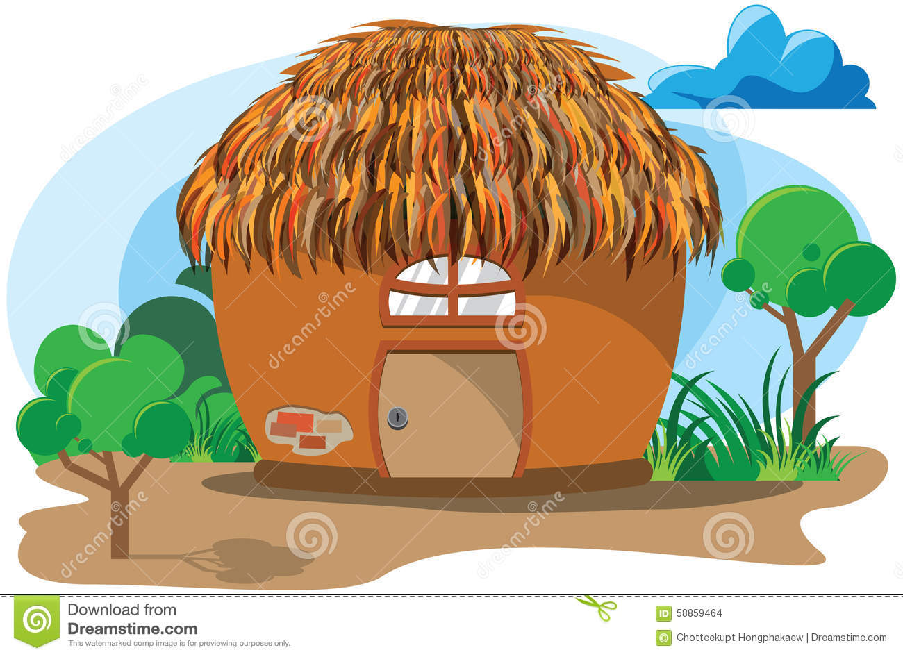 Clay Hut Cartoon Stock Vector Illustration Of Clay Village 58859464