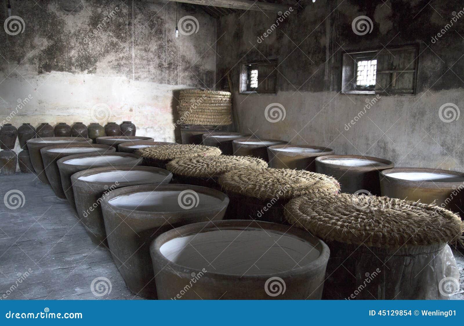 Clay jars in distillery