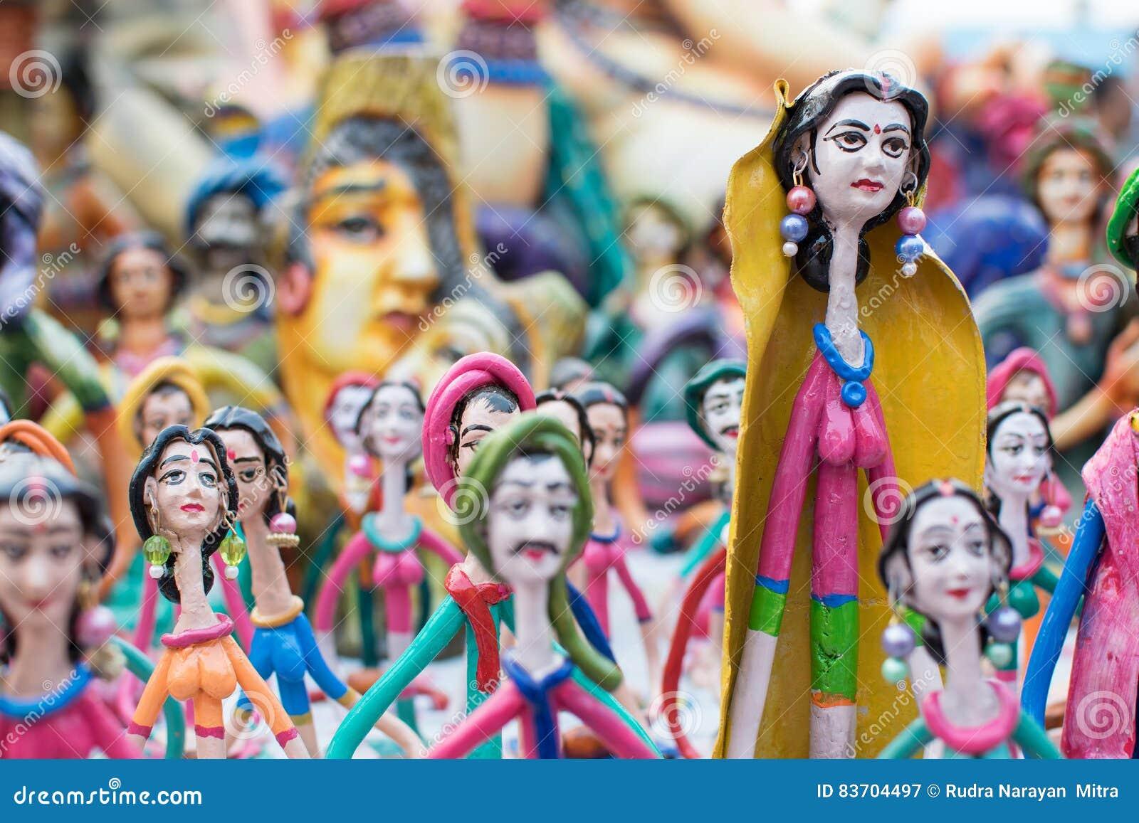 Clay Made Dolls , Handicraft Items On Display , Kolkata Stock Photo