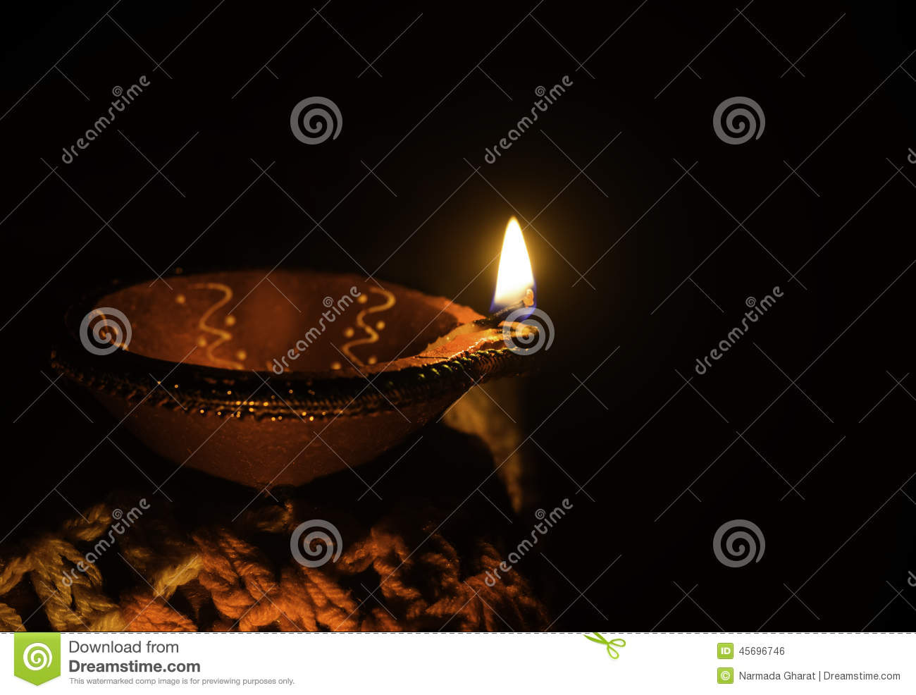 Clay oil lamp use in diwali festival with poster space
