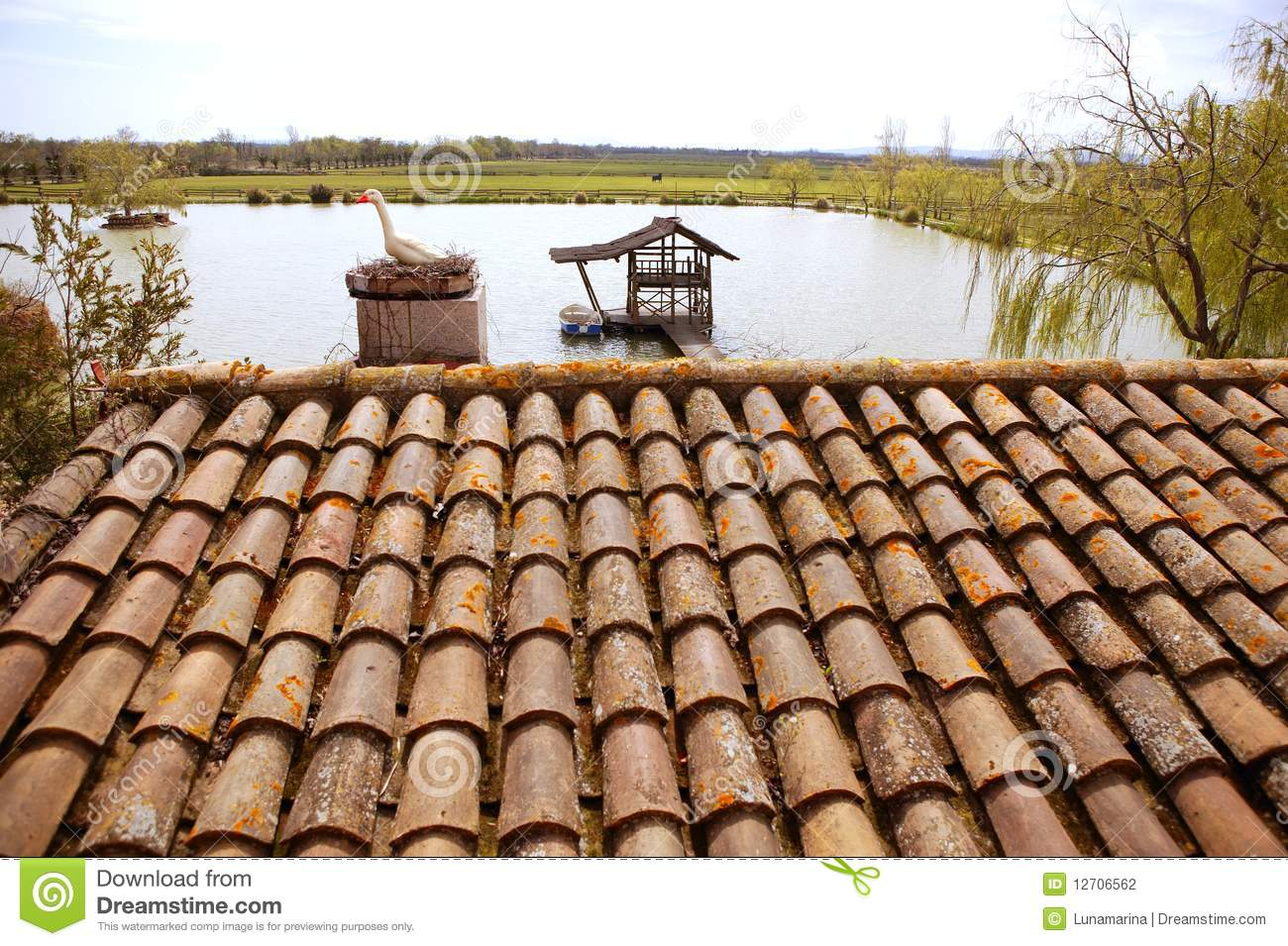 Clay old roof tiles pattern in spain stock photo image for Spanish style roof tiles