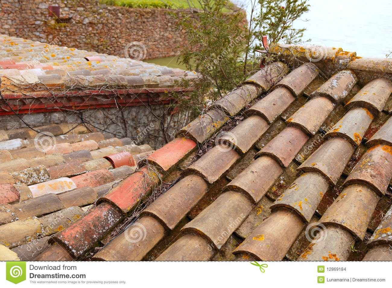 Clay Old Roof Tiles Pattern In Spain Stock Images Image