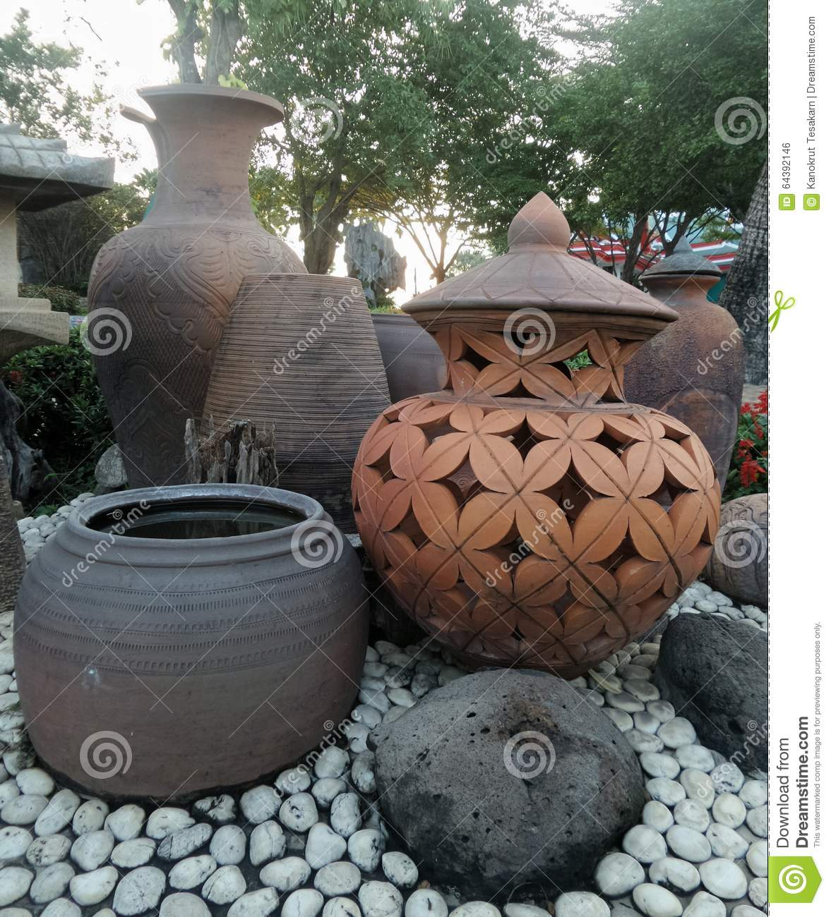 Clay pot garden decoration stock photo. Image of style ...