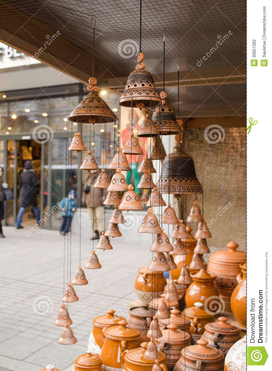Clay Pots Hang Bells Ware Store Shop Market People Stock