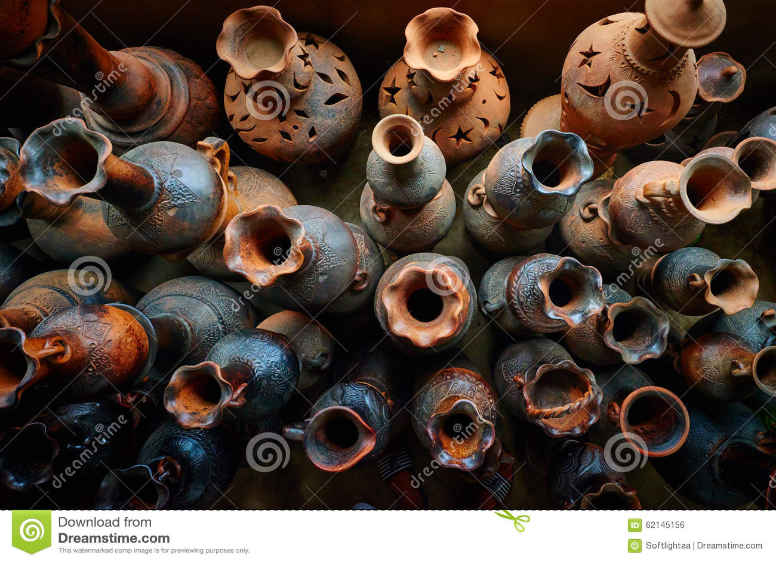 Clay Pots Traditional Handicraft In Vietnam Stock Photo Image Of