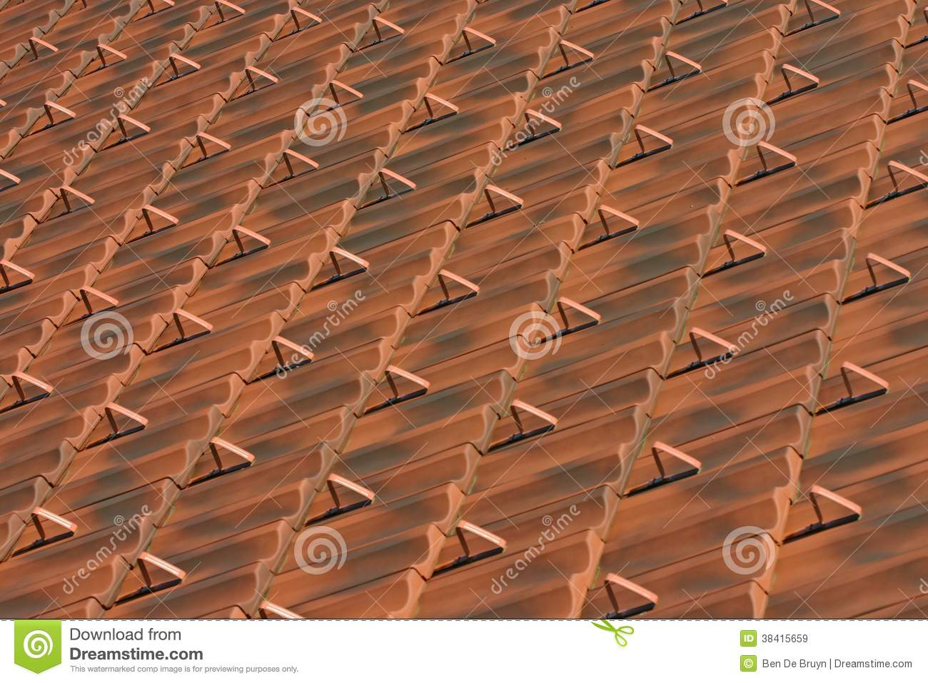 Clay Red Brown Roof Tiles Pattern Royalty Free Stock