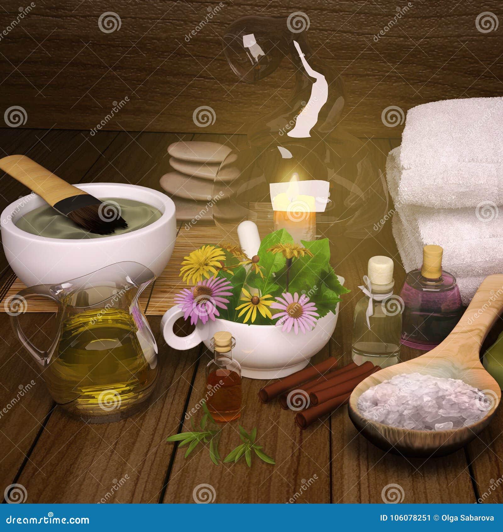Clay Spa, máscara, sal de banho, varas de canela para o corpo saudável