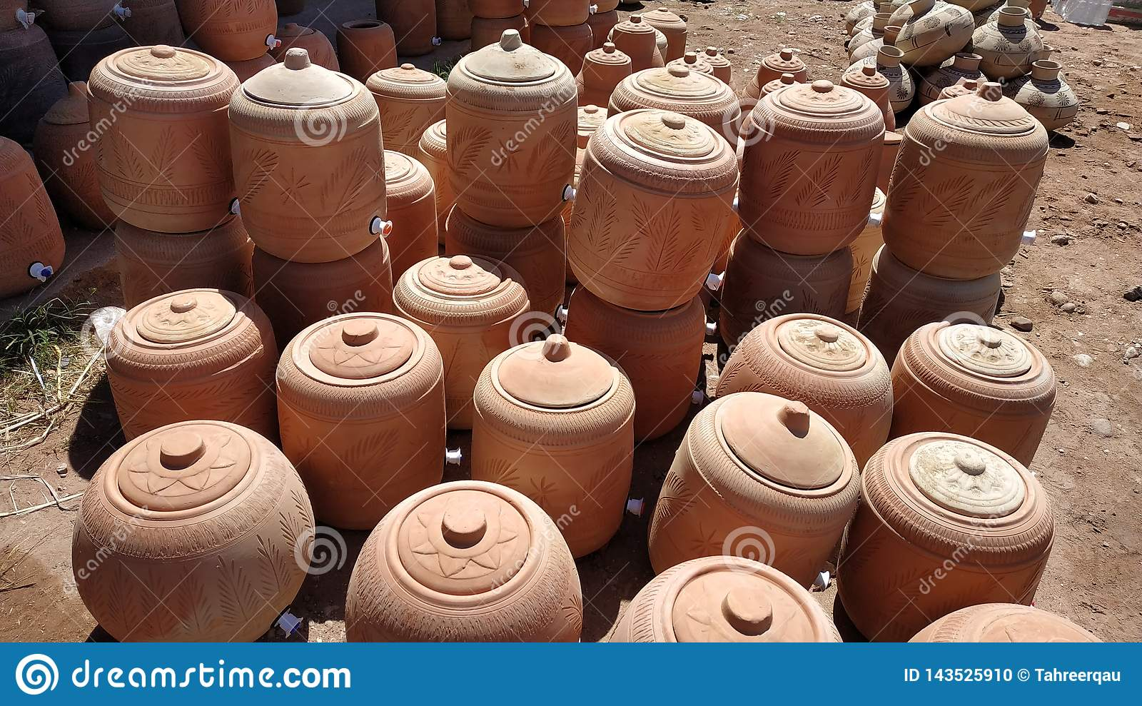 Clay Water Coolers Placed At A Stall Stock Photo - Image of pitchers