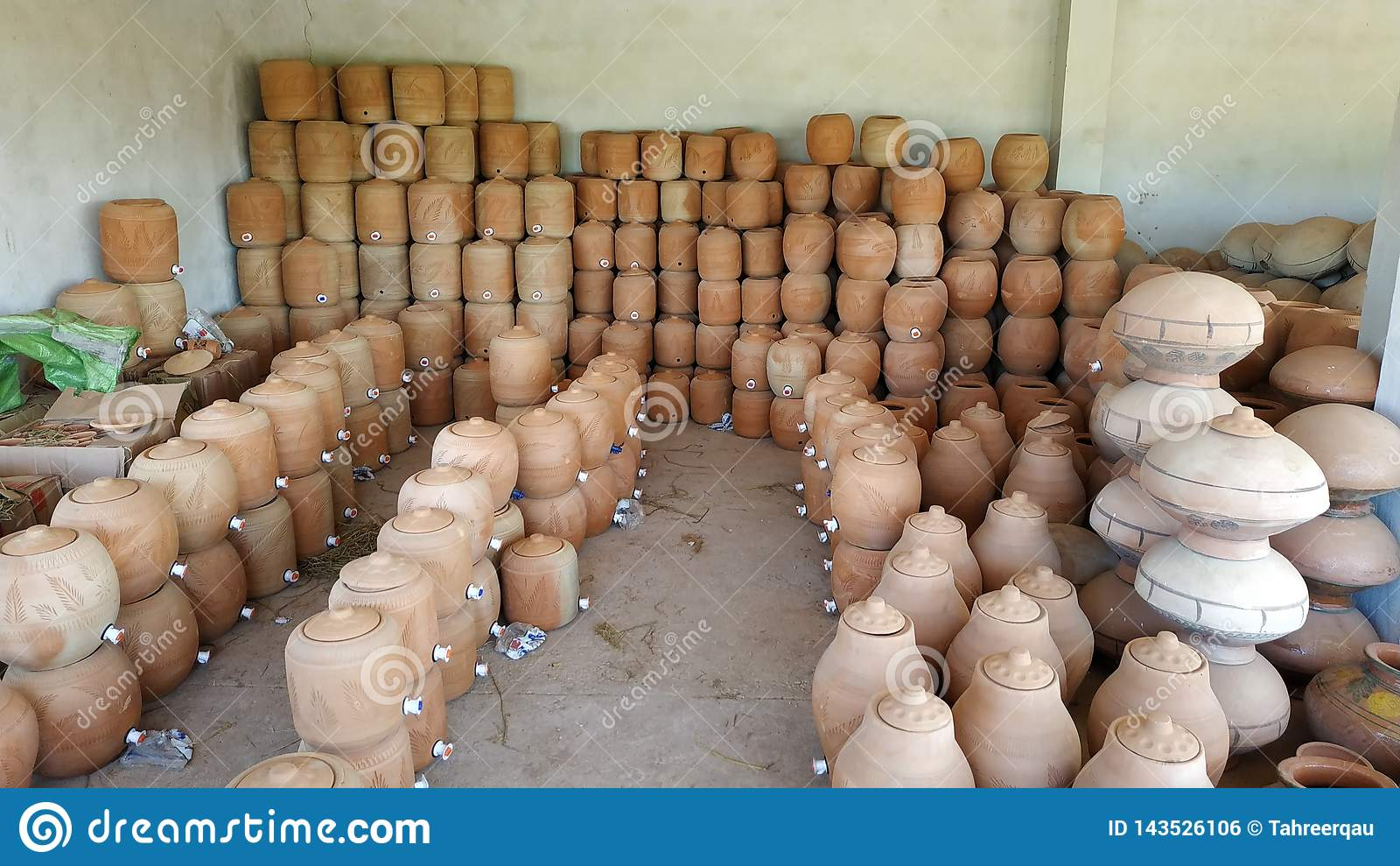 Clay pots placed for sale stock photo  Image of clay - 143526106