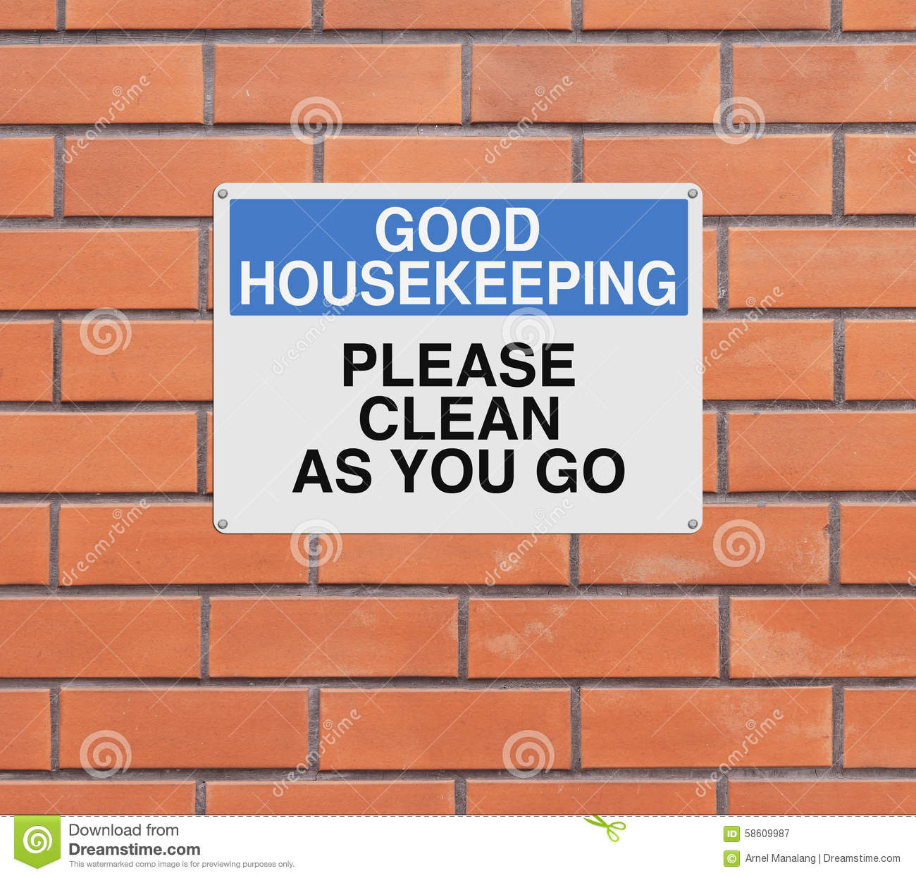 Clean As You Go Stock Photo - Image: 58609987