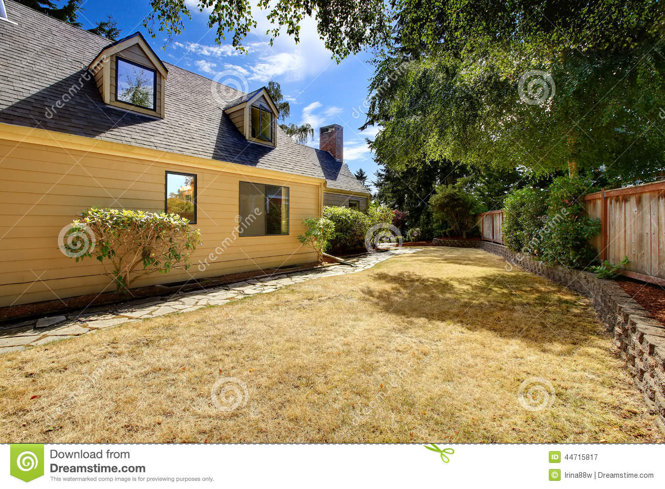 clean backyard area with dry grass stock image image 44715817