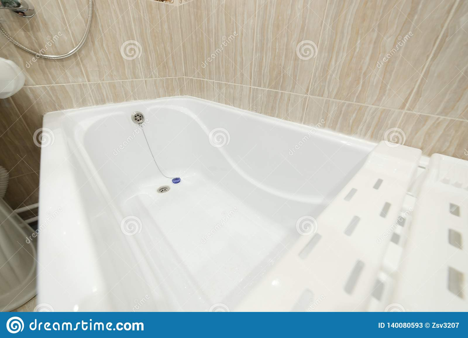 Clean bathroom bath , bathtub , bathroom white hygiene clean style. Bath for small bathrooms
