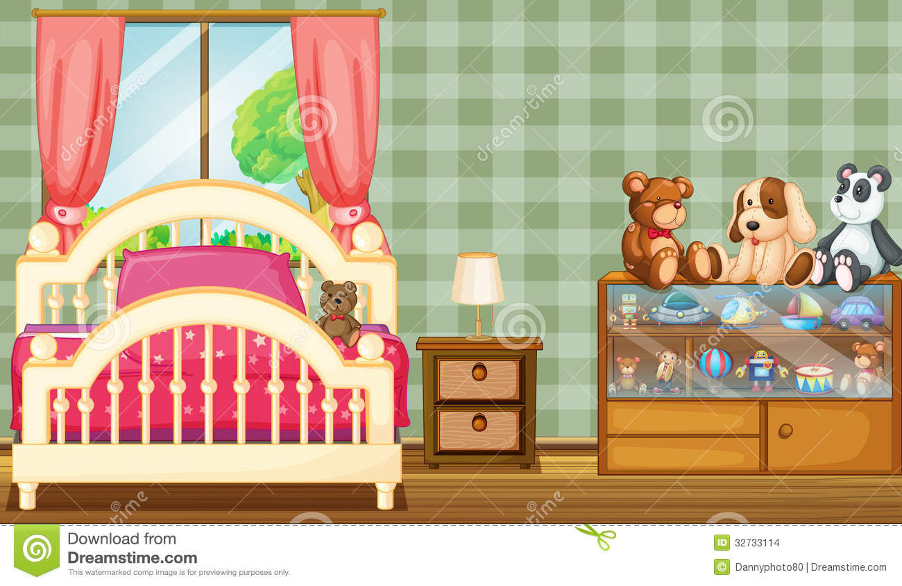 A Clean Bedroom With A Lot Of Toys Stock Vector Illustration Of Interior Drawing 32733114