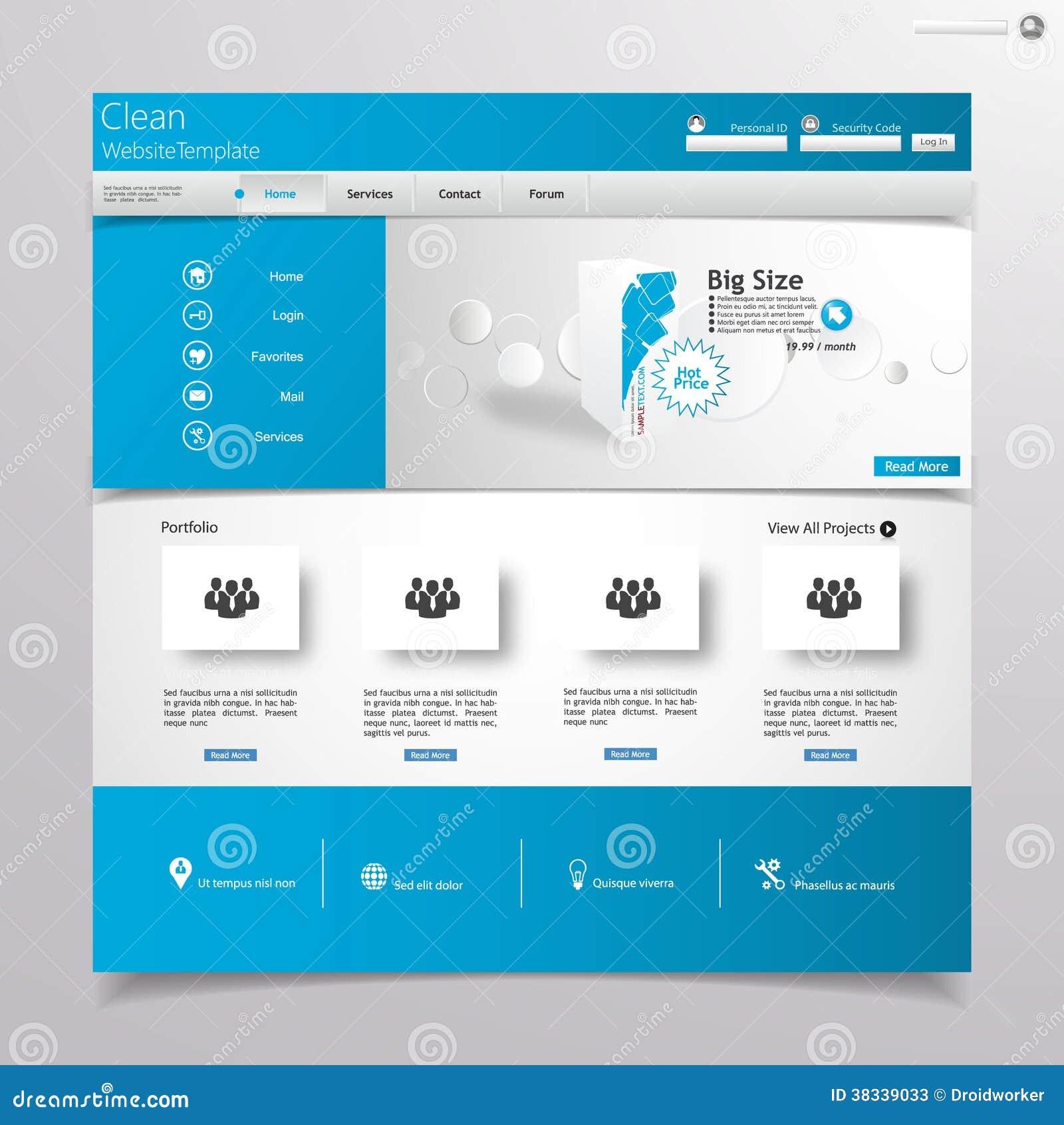 Clean Blue Website Design Template Stock Vector Image 38339033