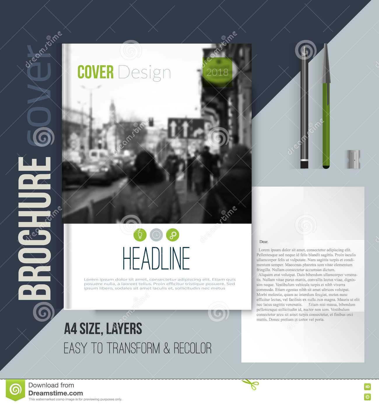 Clean Brochure Cover Template With Blured City Landscape Letter And ...