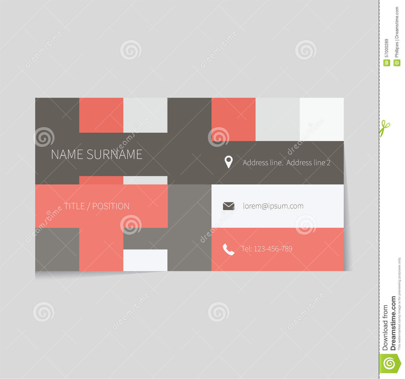 clean business card template in flat design stock vector