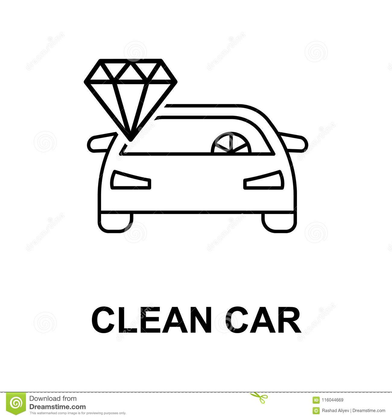 Clean Car Icon Element Of Car Repair For Mobile Concept And Web