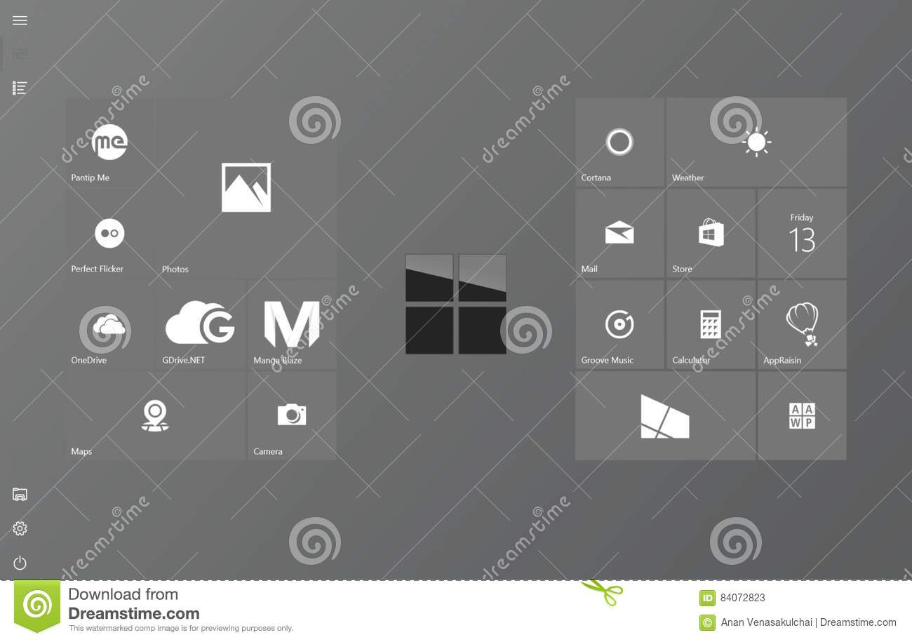 Clean and classy Windows 10 tablet mode start screen