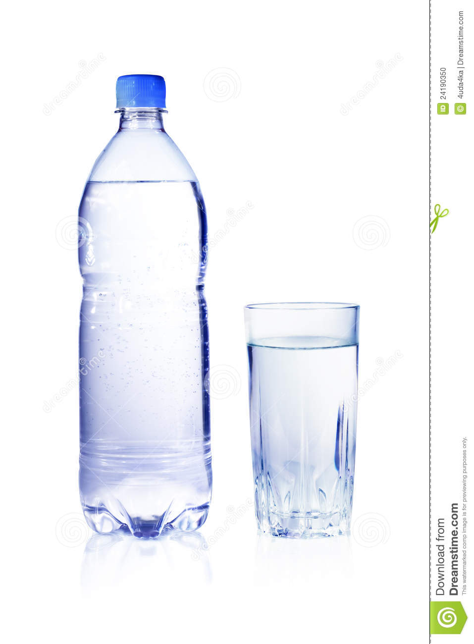 Clean And Clear Water In The Bottle And Glass Stock Photo