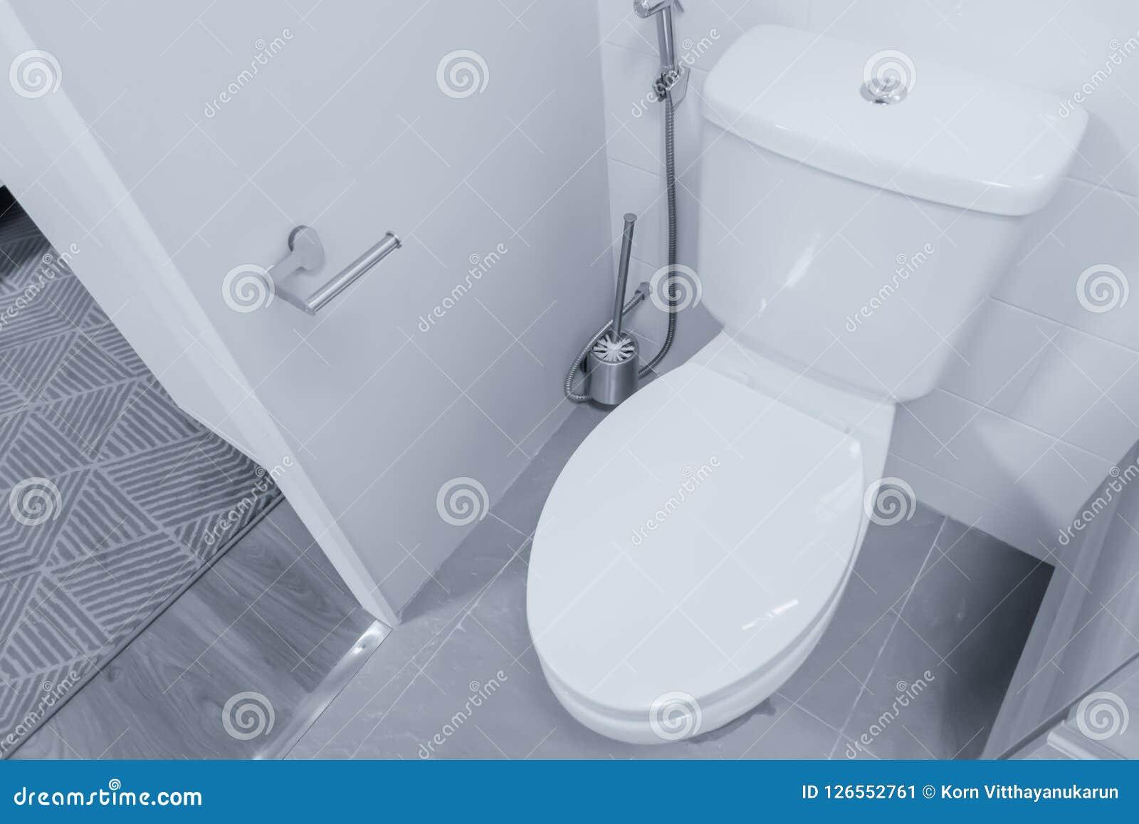 Clean Closet Bowl Flush Toilet Bidet Shower Stock Image Image Of