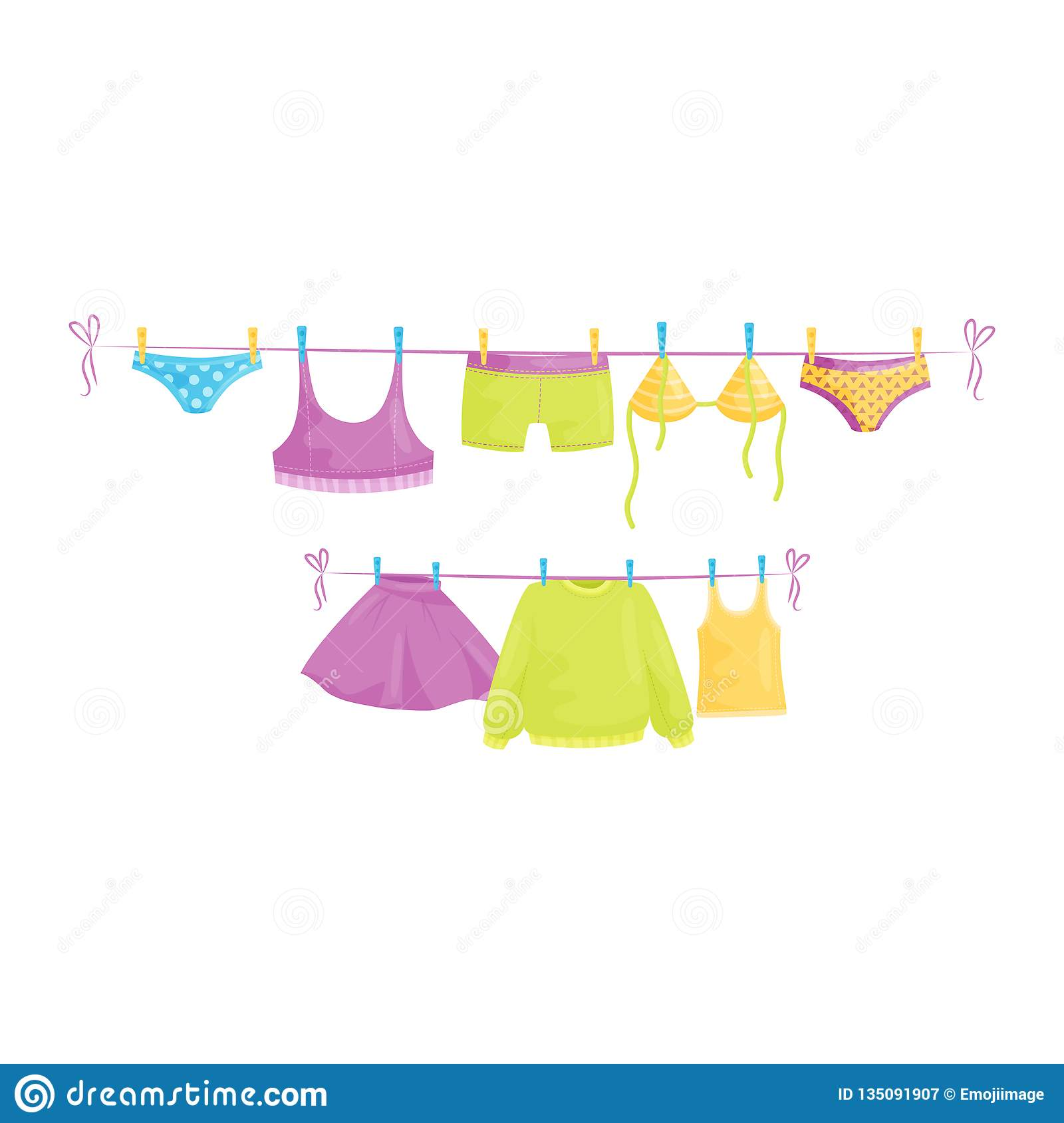 Clean clothes hanging on ropes. Female garment. Laundry theme. Flat vector design