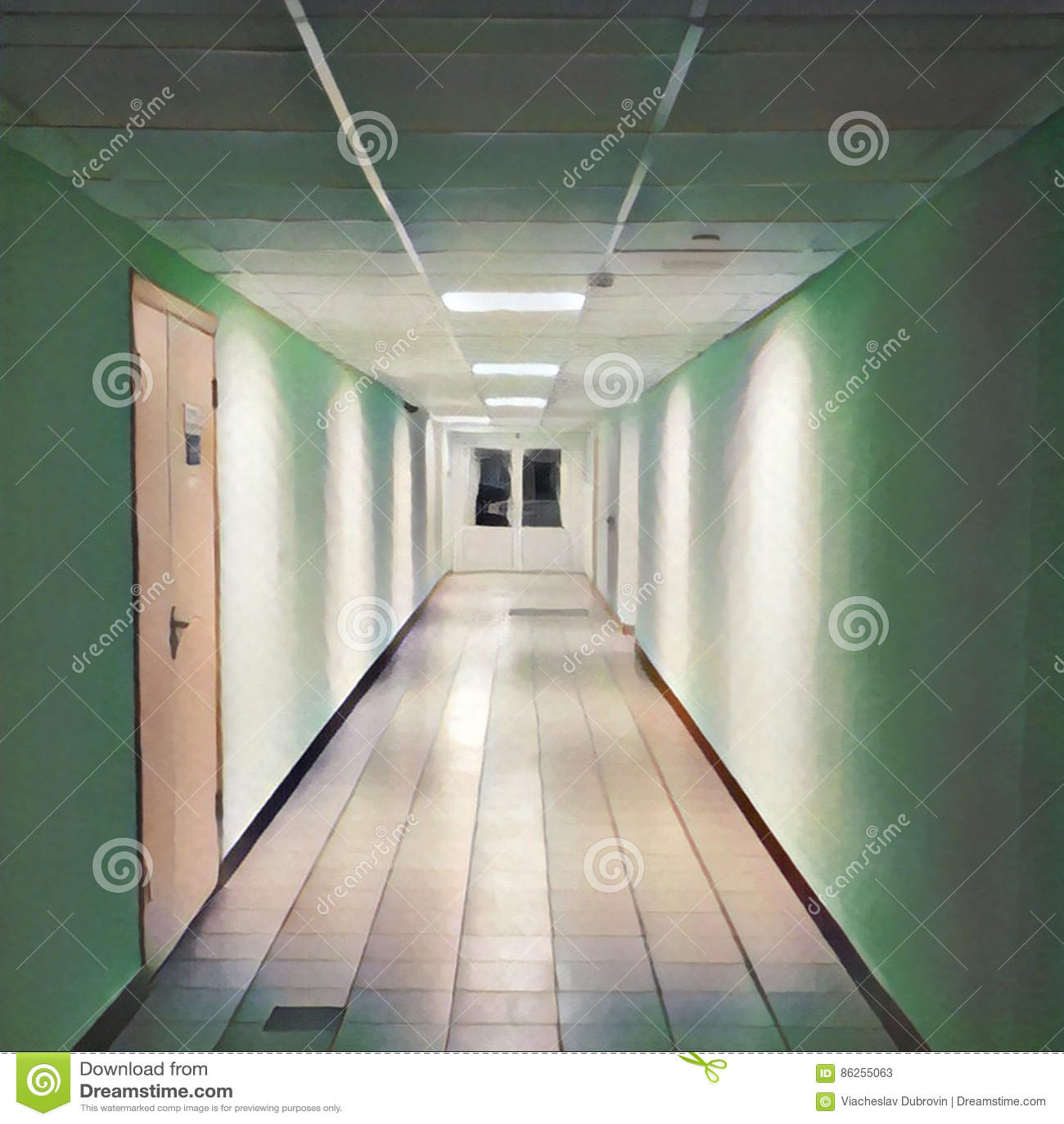 Clean Corridor Leading To Closed Doors. Digital ...