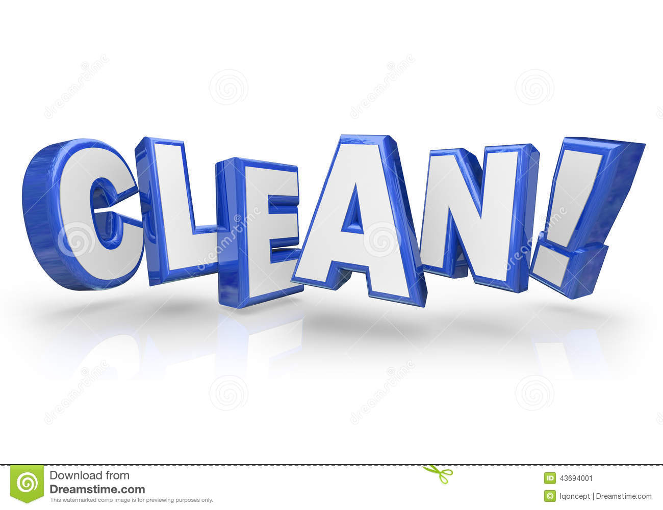 Clean 3d Blue Word Letters Safe Cleanliness Stock Illustration - Image ...